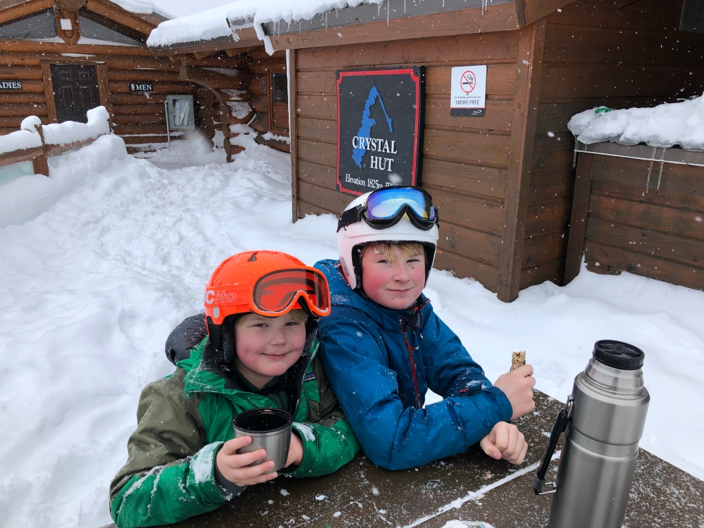 Oscar (left) and Finn grab a quick snack at Crystal Hut, Crystal Ridge @ Blackcomb Mountain, elevation 6,053 feet.